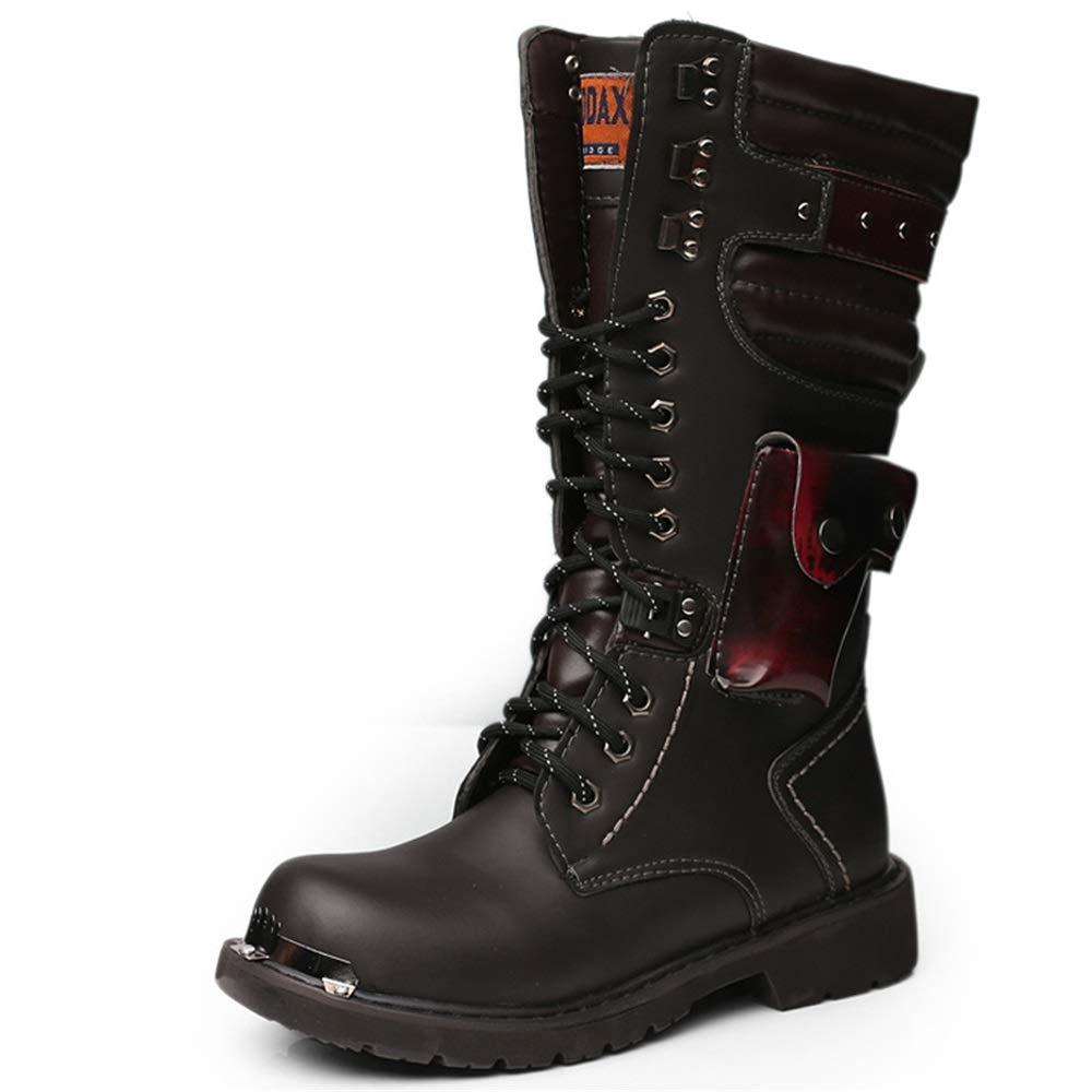 Qiusa Hohe Stiefel für Männer weiche Sohle Nicht Nicht Nicht Slip Breathable beiläufige Schnürstiefel (Farbe   Schwarz, Größe   EU 39) b8ecde