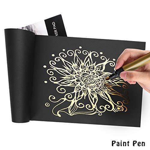 Black Sketch Pad, L\'émouchet Sketch Book, resistente Sketch pad per il disegno, 60 fogli, 30 fogli ciascuno, 2-Pack, 9\