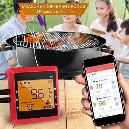 Wireless Meat Thermometer, OUTAD Digital Remote Cooking Food Thermometer Instant Read with 6 Probes for Grill Oven Kitchen Smoker BBQ