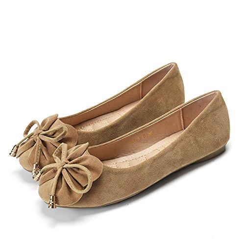 ピーズ靴、女性レジャーラウンドピース靴、フラットシューズ、甘いちょう結び靴