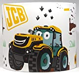 """JCB Digger Lampshade or Ceiling Light Shade 10"""" Drum Shade Boys Girls Bedroom Nursery Tractor Truck Lamps Accessories Gifts"""