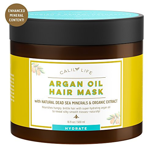 Calily Life Organic Moroccan Argan Oil Hair Mask with Dead Sea Minerals, 17 Oz. - Deep Conditioner and Nourishing - Promotes Healing & Hair Growth -Detoxifies, Strengthens, Shines & Softens [ENHANCED] by Calily (Image #6)