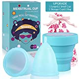 Menstrual Cups 2Set of Large&Small for Heavy&Normal Flow Soft and Reusable Period Cup FDA Approved Medical Grade Silicon Pads and Tampons Alternative Blue