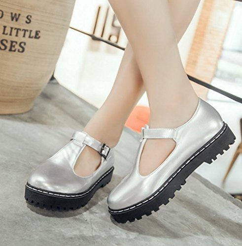 Show Shine Womens Fashion T Strap Casual Flats Shoes Silver FOFtw