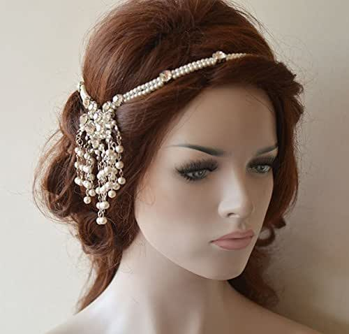 Wedding Hairstyles With Jewels: Amazon.com: Wedding Head Chain, Pearl Hair Jewelry, Bridal