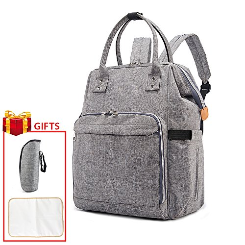 Diaper Bag, Backpack Multi-Function Waterproof Travel Nappy Bags for Baby Care, Mom bag Large Capacity, Fashion bag, with free warm insulated bottle Pocket, Changing Pad (Grey color)