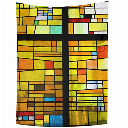 Ahawoso Tapestry 60x80 Inches Blue Window Multicolored Stained Glass Cross Brown Mosaic Color Church Design Wall Hanging Home Decor Tapestries for Living Room Bedroom Dorm