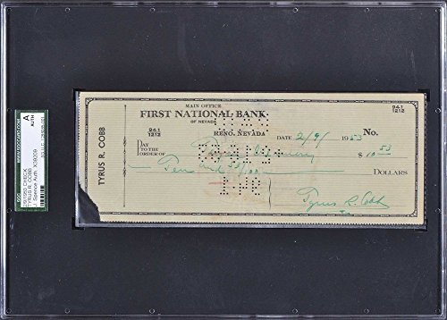 Ty Cobb Signed Slabbed Personal Check Detroit Tigers Sgc - JSA Certified (Detroit Tigers Mlb Hand Signed)