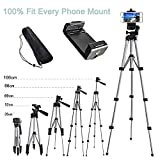 Alovexiong 110cm General Retractable Phone Camera Tripod Portable Adjustable Aluminum Lightweight Camera Stand with Smartphone Holder Mount Compatible for iPhone X XR XS Max 6S 7 8 Plus X Phone Video
