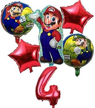 BAYUE Globos 6 Unids / Lote Super Mario Bros Globos Fiesta de Cumpleaños Luigi Mario Bros Globo de Helio 32 Pulgadas número Globo Decoración Supplie (Color : Multi) : Amazon.es: Juguetes y juegos