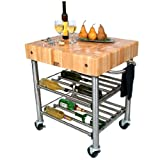 Wine Cart w Maple End Grain Top For Sale