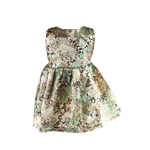 MagiDeal Fashion Floral Sleeveless Dress With Flowers Printed for 18 Inch American Girl Dolls American Girl Floral Dress