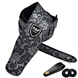 Guitar Strap for Electric Guitar, Acoustic Guitar and Bass, Includes 2 Strap Locks, 1 Leather-made Guitar Strap Button, Best for Guitar Players (Silver-Embossed)