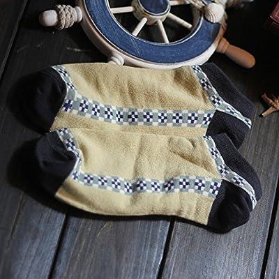 Maivasyy 3 paires de chaussettes chaussettes de coton National Voilier Couple Femmes Hommes Coton Tube rétro de l'été d'épaisseur mince mince bas, carte à rayures