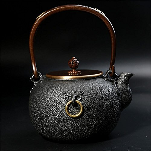 Ahui Cast Iron teapot Pure Manual No Coating High Temperature Oxidation Treatment of Inner Wall Gilt Boiled Water Pot Brass Handle Copper Cover Retro Crafts Large Volume 1.4L