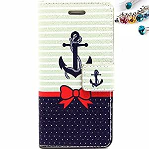 SHOUJIKE Anchor Pattern PU Leather Full Body Case with Card Slot and Stand for iPhone 6 Plus