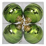 Vickerman 576335-4'' Lime Green Shiny-Matte Mirror Ball Christmas Tree Ornament (4 pack) (M151473)