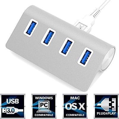 """Sabrent Premium 4 Port Aluminum USB 3.0 Hub (30"""" cable) for iMac, MacBook, MacBook Pro, MacBook Air, Mac Mini, or any PC from Sabrent"""
