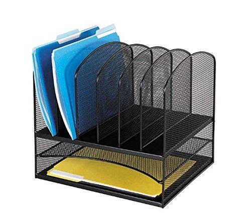 Safco Products Onyx Mesh 2 Tray/6 Sorter Desktop Organizer 3255BL, Black Powder Coat Finish, Durable Steel Mesh Construction, Space-saving Functionality