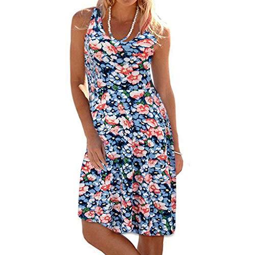 TWGONE Tank Dresses For Women Plus Size Casual Sleeveless Scoop Neck Printed Mini Beach Dress (XXX-Large,Blue)