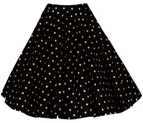 Aecibzo Full Circle 1950's Floral A-Line Pleated Vintage Skirts Women Plus Size (4XL, Black-dots)