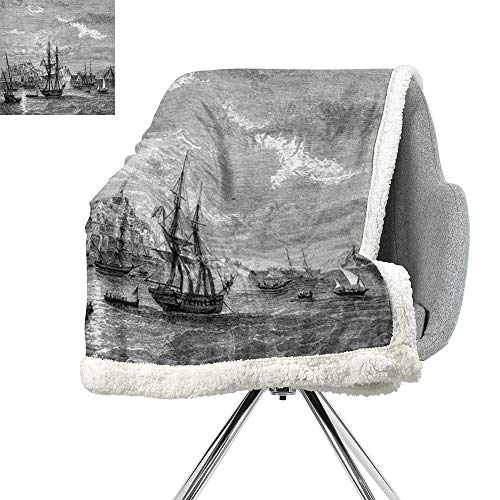 (ScottDecor Antique Cozy Flannel Blanket,Departing from Elba Vintage Engraved Illustration History of France Sails Vessels,Black Grey,Blanket as Bedspread W59xL78.7 Inch)