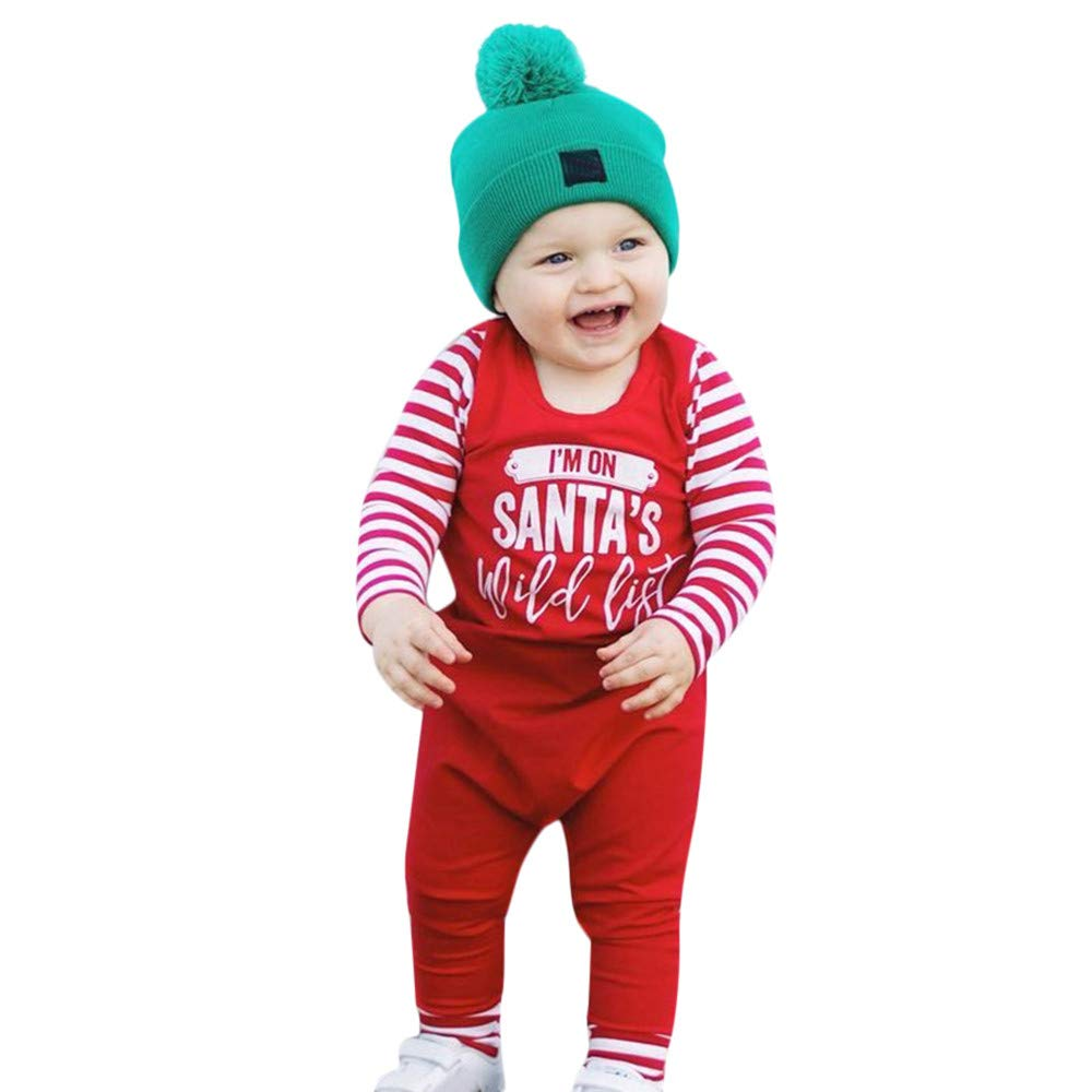 LIKESIDE Baby Boys Girls Letter Striped Splice Christmas Jumpsuit Romper Outfits