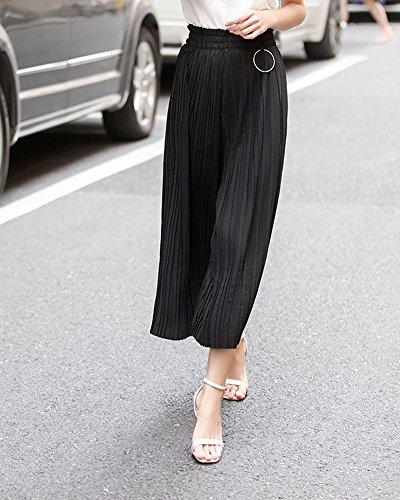 Mujeres Ancho Pierna Palazzo Pantalones Cintura Elástica Holgados Flojos Verano Negro