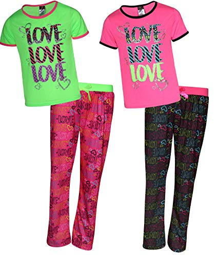 - Angel Face Girls 4-Piece Comfy Pajama Set with Short Sleeved Shirts and Long Pants, Hearts/Love, Size 14/16'