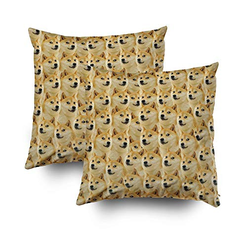 Shorping Zippered Pillow Covers Pillowcases 16x16Inch 2 Pack Halloween Shibe Doge Fun Funny Meme Adorable Decorative Throw Pillow Cover Pillow Cases Cushion Cover for Home Sofa -