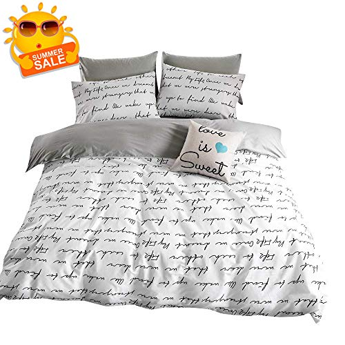 BuLuTu Black Letters Print Kids Duvet Cover Set Full Cotton White,Super Soft Comforter Cover with 2 Pillowcases,Queen Bedding Sets with Zipper Closure for Teen Adults,No Comforter