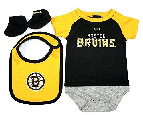 Boston Bruins Lil Jersey Creeper, Bib & Bootie Newborn Set (3/6 Months)