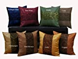 Shopping The Globe Thai Silk Look 14 x 14 Throw Pillow Cooper & Bronze Swirl