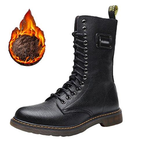 Alto Militare Boots Lacci All'aperto Uomo Pi Neve Anfibi Polpaccio Nero al Pelle YuanDian Inverno Stivali Martin Scarponi Antiscivolo Caldo pwAq1Iw