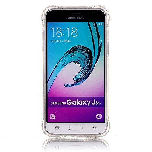 Galaxy J3 (2016) Funda, Sunroyal Carcasa Silicona TPU Gel para Samsung J3 (2016) Semi-Transparente Glitter Ultra Slim Concha Anti-Arañazos Amortiguar los Choques Borrar Espalda Caja del Teléfono Diseñ B-02