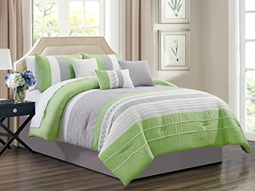 Comforter Cube Set (HGS 7-Pc Knoton Embossed Geometric Cube Lines Embroidery Pleated Comforter Set Lime Green Gray Off-White Queen)