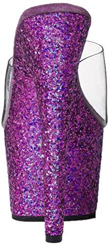Pleaser ADORE-701LG Damen Plateau Pantolette Clr/Purple Holo Glitter