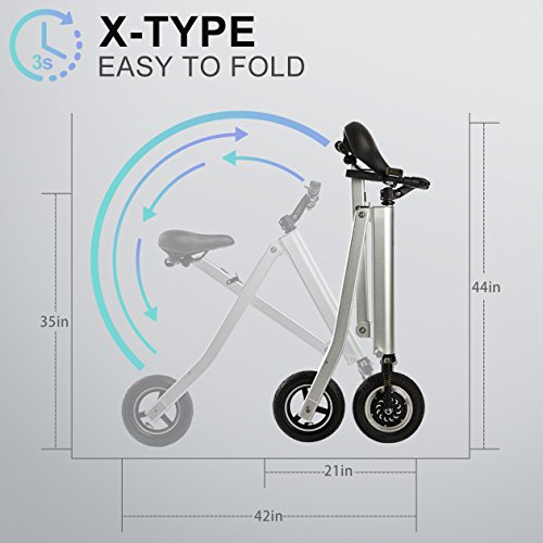 BuySevenSide Urban E-Bike And Folding Electric Scooter The Newest Foldable Bicycle Model With 15-18 MPH Max Speed 25-30 Miles Range and Upgraded Brake System