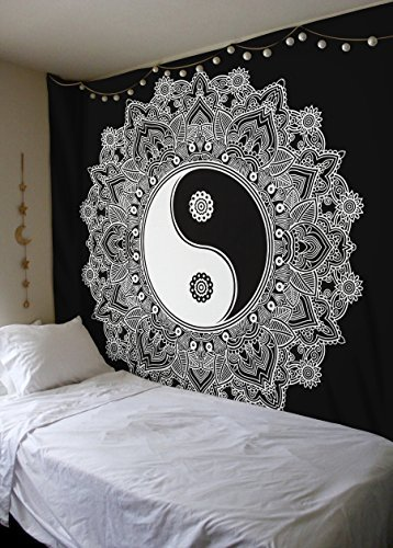 Amazoncom Black And White Tapestry YinYang Wall Hanging Tapestry