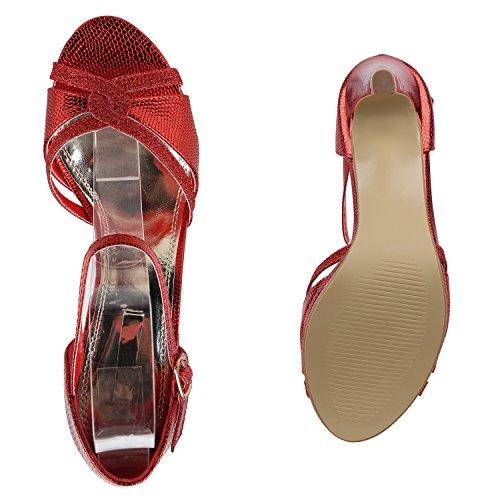 Stiefelparadies Damen Riemchensandaletten Strass Sandaletten Stilettos High Heels Party Schuhe Glitzer Lack Mid Heel Sandalen Flandell Rot