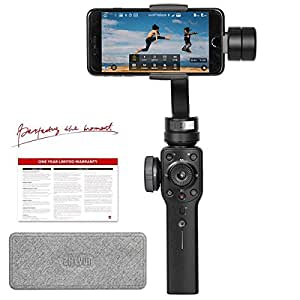 Zhiyun Smooth 4, 3-Axis Gimbal Stabilizer for Smartphone up to 7.4 oz, w/Focus Zoom Wheel PhoneGo Mode Two-Way Charging 12h Runtime in Black