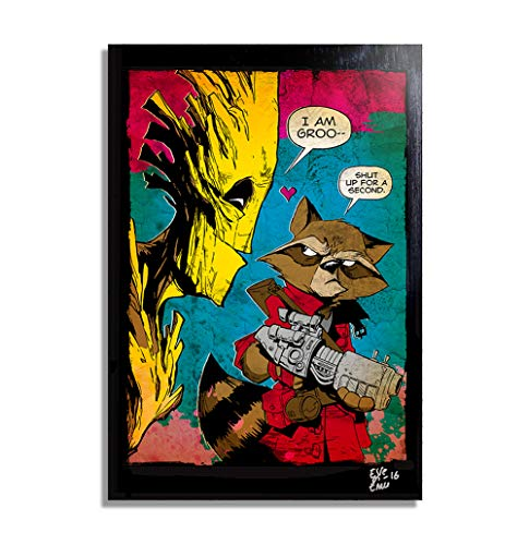 (Rocket Raccoon and Groot, Guardians of The Galaxy Marvel Comics - Pop-Art Original Framed Fine Art Painting, Image on Canvas, Artwork, Movie Poster, SciFi)
