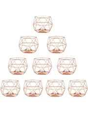 Nuptio Tea Light Candle Holders Gold Candle Holder, Geometric Candle Holder Dining Table Candle Centrepiece Decorations for Living Room Bedroom Bathroom, Wedding Housewarming Birthday Gifts
