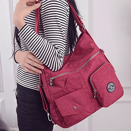 Nylon Shoulder Cross Sport Bag Handbag Body Travel Bag for Side Crossbody Casual Bag Messenger Women Outreo Satchel Beige Backpack Girls SYZqxwU