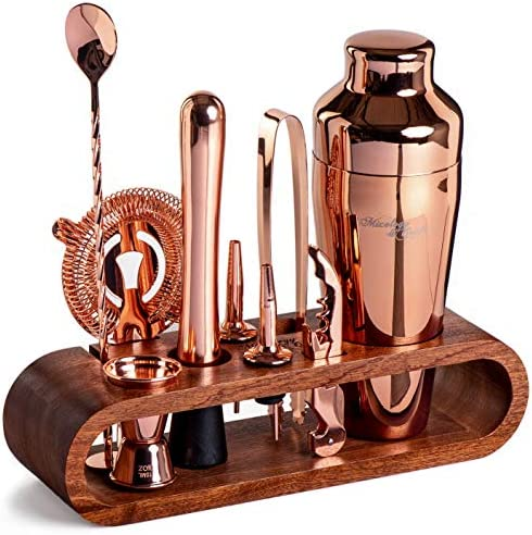 Mixology Bartender Kit: 10-Piece Copper Bar Set Cocktail Shaker Set with Stylish Mahogany Stand   Perfect Home Bartending Kit with Rose Gold Bar Tools and Martini Shaker for Foolproof Drink Mixing