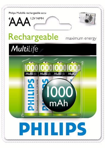 4pk Aaa Nimh Rechargeable Batteries (Philips MultiLife NiMH Rechargeable AAA Batteries 1000mAh 4PK)