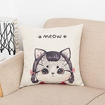 BIGBOBA Linen Cushion Covers Lovely Cat Pattern Cushion Case Sofa Bed Home Decor Pillowcase 45 45CM 18x18
