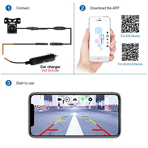 AUTOLOVER Backup Camera, HD 720p Backup Camera for car, Vehicles  WiFi/Wireless Backup Camera with Night Vision / IP67 Waterproof for iPhone,  iPad or