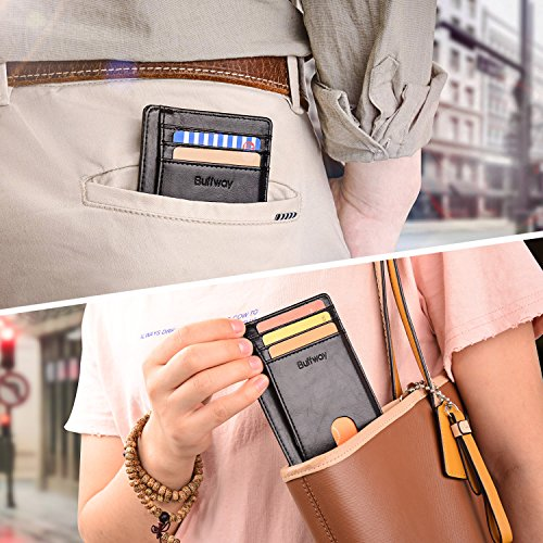 Slim Minimalist Front Pocket RFID Blocking Leather Wallets for Men & Women – Alaska Black