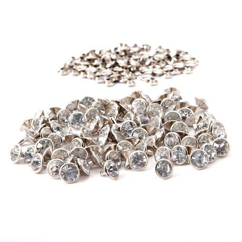 Crystal Stud Metal (100pcs 10 x 10 MM Diamante Diamond Crystal RIVET STUDS Leathercraft)
